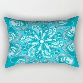 True Teal Heart Mandala Rectangular Pillow