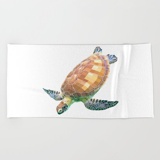 The Green Sea Turtle (Colored) Beach Towel