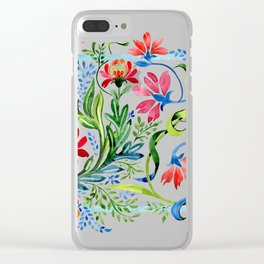 Watercolor Garden Folk Floral In Vintage Style Clear iPhone Case
