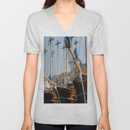 Gulets Lining The Harbour Infront of Marmaris Castle Unisex V-Neck