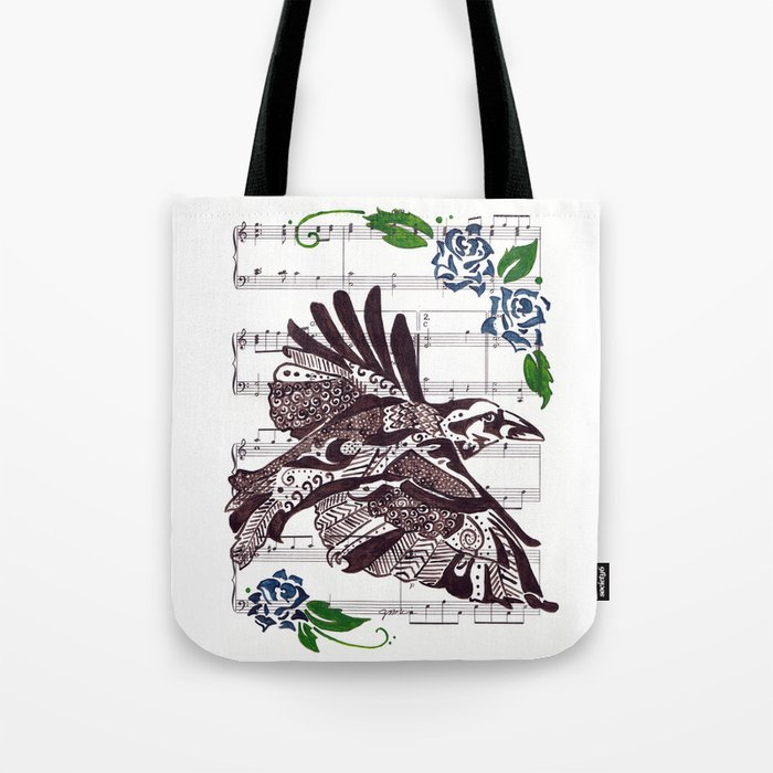 Quoth the Raven   (Raven and blue roses on sheet music) Tote Bag