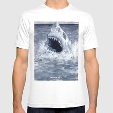 Shark Attacks! ( by Luca Conca for Passenger Press) Mens Fitted Tee White MEDIUM