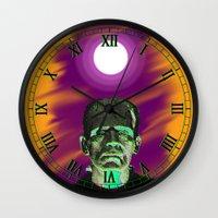 frankenstein Wall Clocks featuring Frankenstein  by JT Digital Art