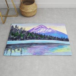 Mount Hood Sunrise Watercolor Rug