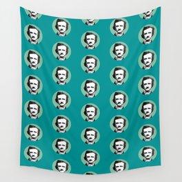 Edgar Allan Poe-ka Dots Teal Wall Tapestry