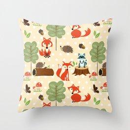Cute vintage red teal green boho fox butterflies pattern Throw Pillow