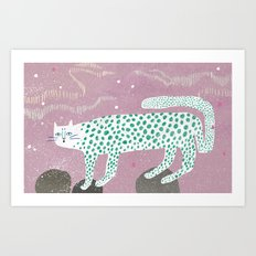 Show leopard in pink skies Art Print