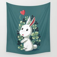clover Wall Tapestries featuring Clover Bunny by Freeminds