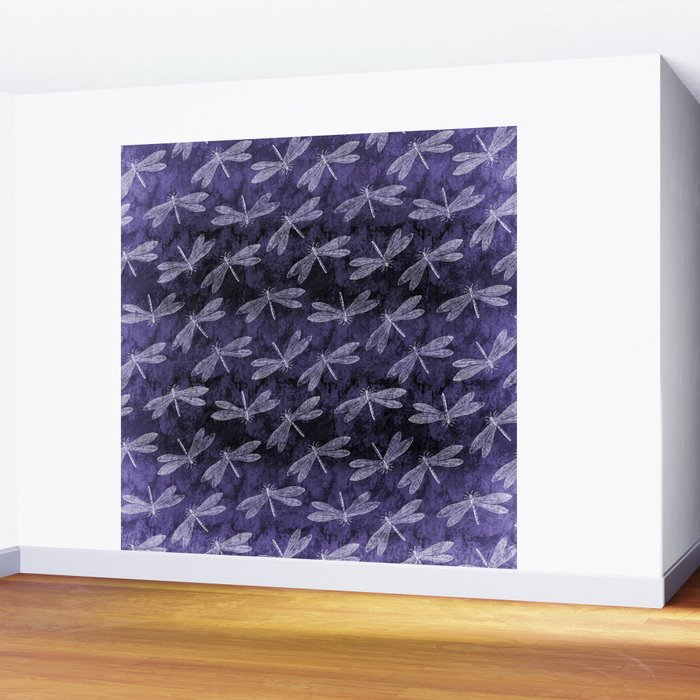 Purple Dragonfly Twighlight Dance Wall Mural