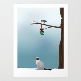 Cat,  Bird and Mistletoe  Art Print