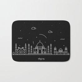 Agra Minimal Nightscape / Skyline Drawing Bath Mat