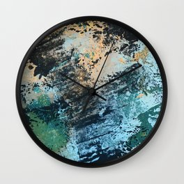 Reflection: an abstract ocean scene in blues, greens, and gold Wall Clock
