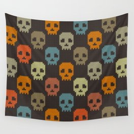 Knitted skull pattern - colorful Wall Tapestry