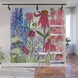 Watercolor Acrylic Cottage Garden Flowers Wall Mural