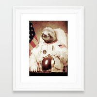 astronaut Framed Art Prints featuring Sloth Astronaut by Bakus