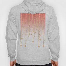 Color block coral faux gold glitter waterdrops ombre Hoody