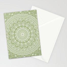 Secret garden mandala in pale green Stationery Cards