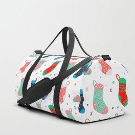 Modern hand drawn christmas socks illustration pattern Duffle Bag