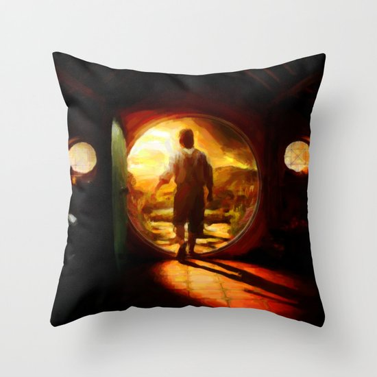 Bilbo's Journey - Painting Style Throw Pillow