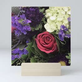 French Lavender and Red Rose Floral Bouquet Mini Art Print