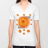 dahlia V-neck T-shirts featuring Dahlia by Art-Motiva