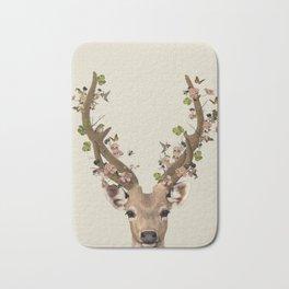 Deer Print, Flower crown, Woodlands Decor, Wall Art, Animals Print, Woodlands Nursery Art Bath Mat