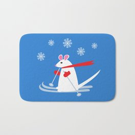 Christmas Mouse on Skis Bath Mat
