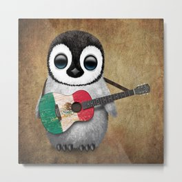 Baby Penguin Playing Mexican Flag Guitar Metal Print