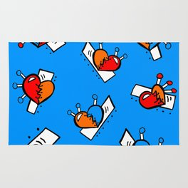 Hearts with Stitches - Blue Red Orange - Bright Blue Rug