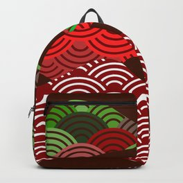 scales simple Nature background with japanese wave circle pattern dark brown burgundy maroon green Backpack