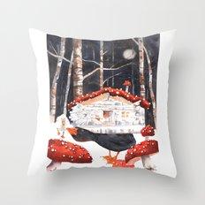 Magic Mushrooms, Forest fairytale, enchanted, woodland art, shrooms Throw Pillow