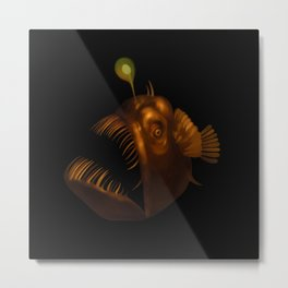 Deep Sea Anglerfish Watercolor Metal Print
