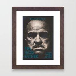 The Godfather, minimalist movie poster, Marlon Brando, Al Pacino, Francis Ford Coppola gangster film Framed Art Print