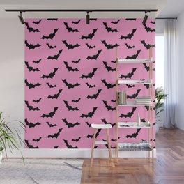 Black Bat Pattern on Pink Wall Mural