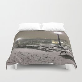 Romantic Seattle Snow At Night Duvet Cover