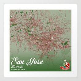 San Jose - Califonia Christmas Color City Map Art Print