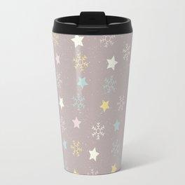 Pastel brown pink yellow Christmas snow flakes stars pattern Travel Mug