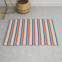 Vibrant Light Green, Red, Dim Gray, Light Gray, and Dark Blue Colored Stripes Pattern Rug