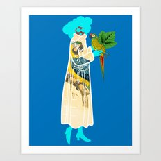 Bird Coat Blue Art Print