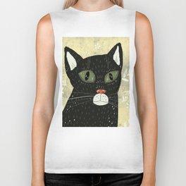 Black cat stare Biker Tank