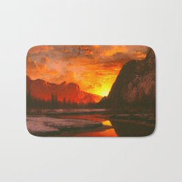 Classical Masterpiece 'Sunset in the Yosemite Valley' by Albert Bierstadt Bath Mat