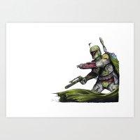 boba fett Art Prints featuring Boba Fett by NickHarriganArtwork