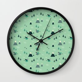 Happy Mountains Pattern Wall Clock