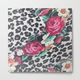 Vintage black white pink floral cheetah animal print Metal Print