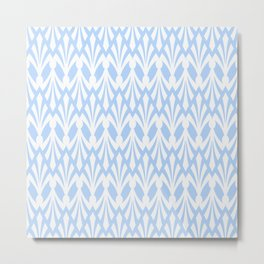 Decorative Plumes - White on Pastel Blue Metal Print