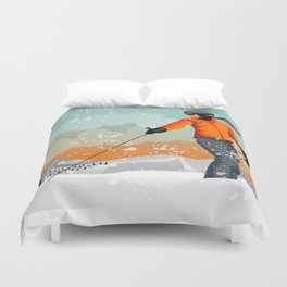 Skier Looking Duvet Cover
