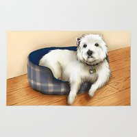 westie Area & Throw Rugs featuring Dexter the Westie in His Doggie Bed by Circus Dog Industries