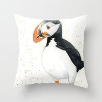 puffin Throw Pillows featuring Puffin by Priscilla George
