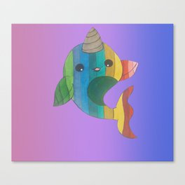 rainbow narwhal Canvas Print