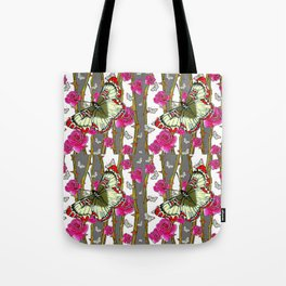 RED-YELLOW  ORIENTAL STYLE BUTTERFLIES & PINK ROSES GREY PATTERN DESIGN FROM SOCIETY6   BY SHARLESAR Tote Bag